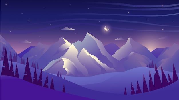 Montanhas e florestas à noite, céu com nuvens e estrelas, bela paisagem