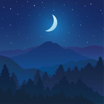 Montanhas e paisagem da floresta com o céu da noite e estrelas