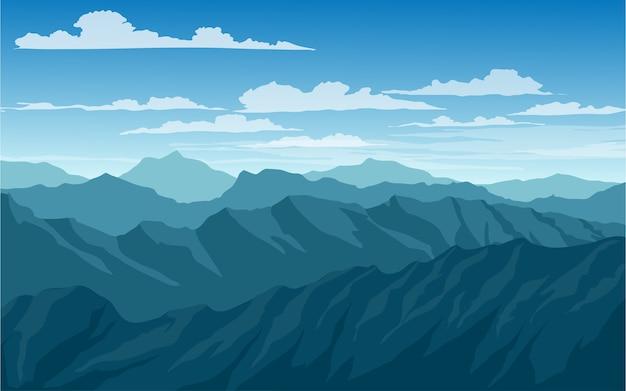 Montanhas e paisagem de céu azul