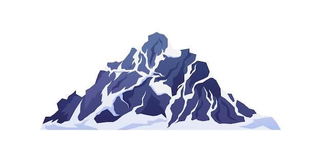 Montanhas em penhascos e picos rochosos com neve