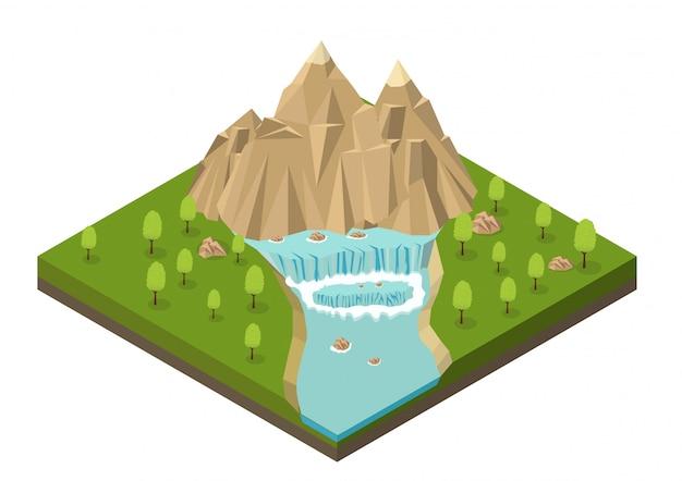 Montanhas isométricas com cascata, rio e árvores