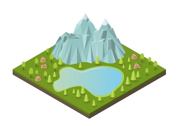 Montanhas isométricas com lago e árvores.