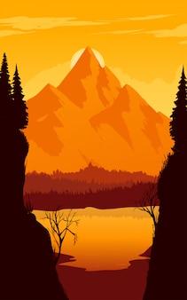Montanhas na ilustração do nascer do sol