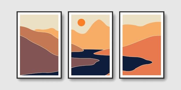 Montanhas rio e sol conjunto de arte em paredes de meados do século