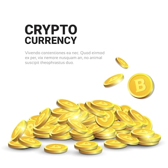 Montão de bitcoins dourado sobre o fundo branco do molde com conceito cripto moderno da moeda do espaço da cópia digital