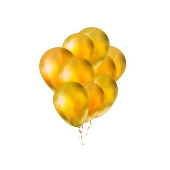 Monte brilhante de balões dourados de luxo em branco