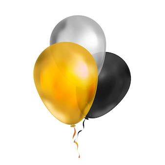 Monte brilhante de três balões de luxo nas cores ouro, prata e preto no branco