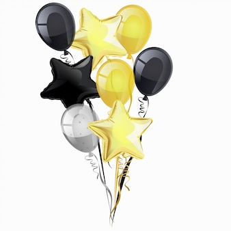 Monte de balões de hélio pretos, dourados e prateados, isolados no fundo branco. clipart.