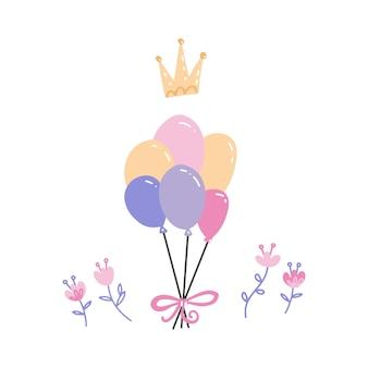 Monte de balões multicoloridos com coroa e flores. acessórios de festa mão desenhada. aniversário, decoração de comemoração de aniversário.
