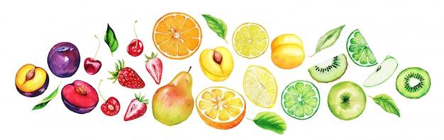 Monte de frutas mistas, classificado por cores