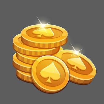Monte de moedas de ouro