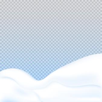 Monte de neve realista em fundo transparente