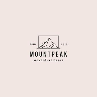 Monte o logotipo da montanha do pico
