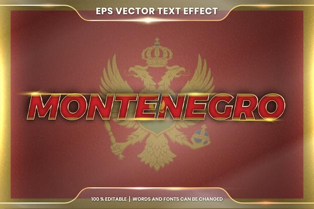 Montenegro com sua bandeira nacional, estilo de efeito de texto editável com conceito de gradiente de cor ouro