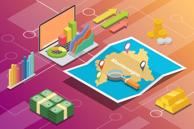 Montenegro isométrica negócios economia crescimento país