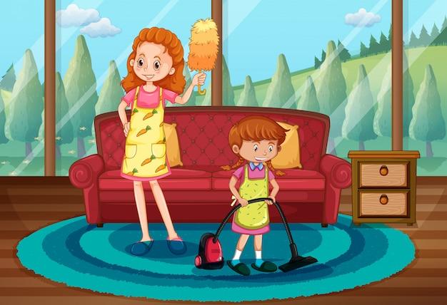 Monther e filha limpando casa