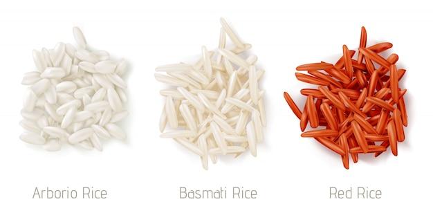 Montões de grãos de arroz, arborio, basmati e arroz vermelho