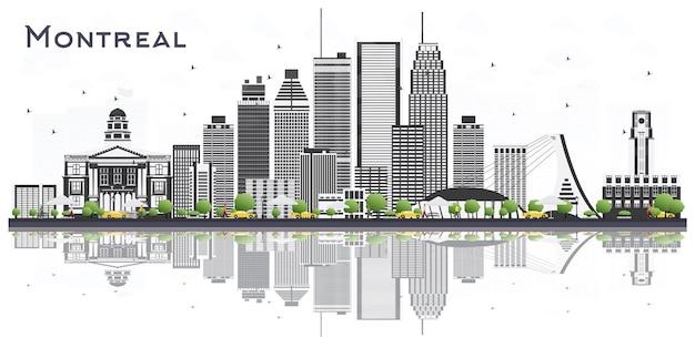 Montreal canadá city skyline com cinza edifícios isolados no fundo branco. ilustração vetorial. viagem de negócios e conceito de turismo com arquitetura moderna. montreal cityscape com pontos turísticos.