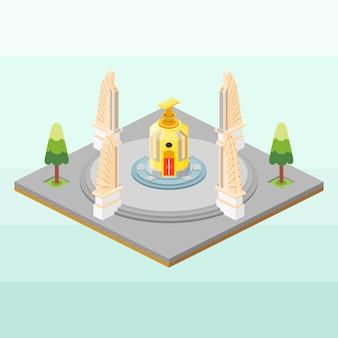 Monumento da democracia da tailândia em isométrico