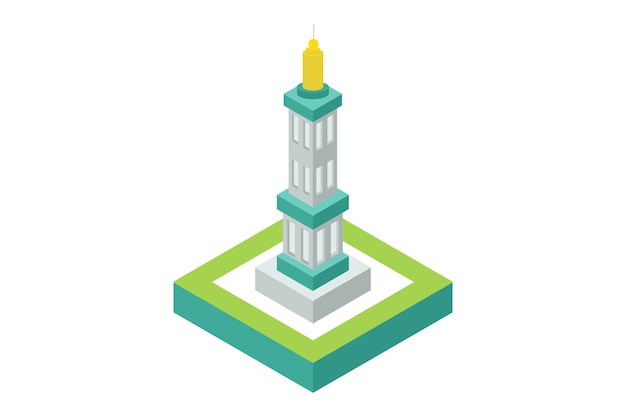 Monumento isométrico obelisco, ilustração vetorial
