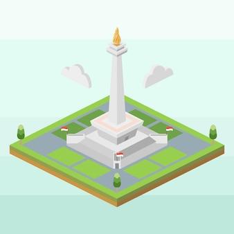 Monumento nacional da indonésia em isométrico