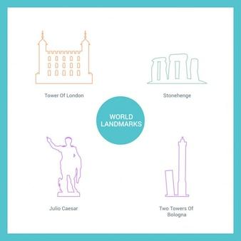 Monumentos desenhados com linhas
