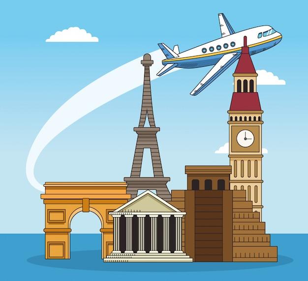 Monumentos do mundo e design de viagens pelo mundo