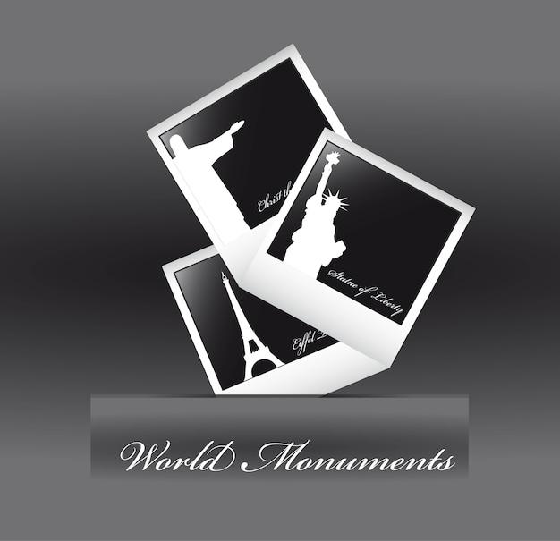 Monumentos do mundo sobre fundo cinza, ilustração vetorial