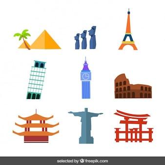 Monumentos em design plano