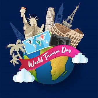 Monumentos famosos do mundo com mapa de localização e câmara fotográfica para o dia mundial do turismo