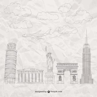Monumentos famosos na textura de papel