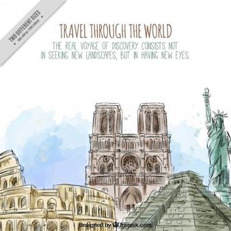 Monumentos mundo aquarela desenhados mão