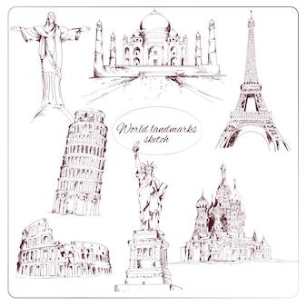 Monumentos mundo desenhados mão