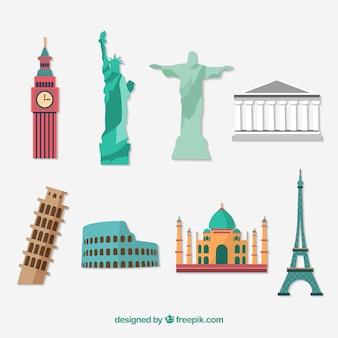 Monumentos plano icon set