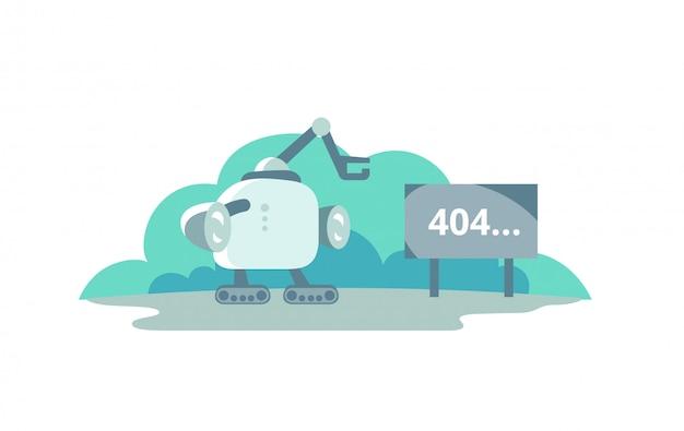 Moonwalker parou em frente ao sinal 404 de erro. ilustração para a página de erro 404 não encontrada