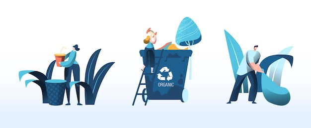 Moradores de grupos de pessoas jogam lixo para reciclar latas de lixo para plástico, papel e resíduos orgânicos. conceito de proteção ambiental. classificar ilustração vetorial plana de desenho animado, reciclagem e segregação