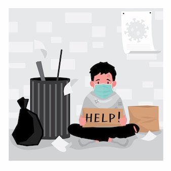 Moradores de rua que estão desempregados e precisam de ajuda apresentam um homem sentado perto da lata de lixo segurando uma placa de ajuda