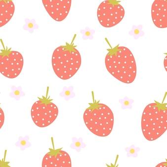 Morango baga vermelha sem costura padrão de frutas bagas e flores em um fundo branco