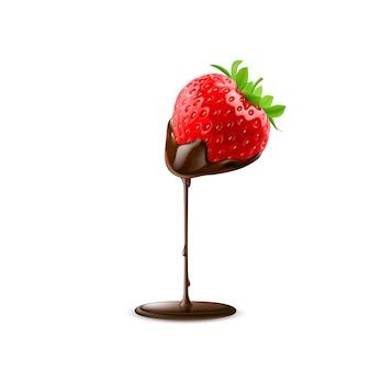 Morango com gota de chocolate isolado no fundo branco