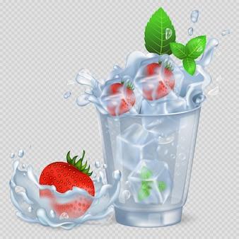 Morango e hortelã congelados em copo com água