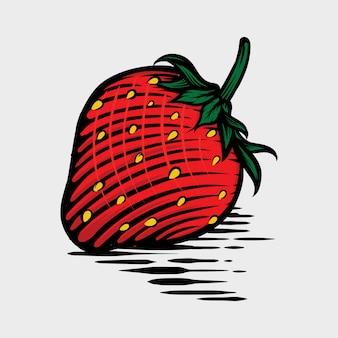 Morango em ilustração em vetor desenhados à mão estilo gráfico