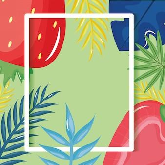 Morango fresco com quadro de palmeiras de folhas