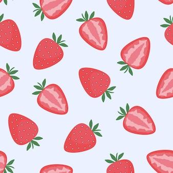Morango, frutos inteiros e frutos cortados. padrão uniforme. ilustração em vetor plana. textura para impressão, tecido, têxtil, papel de parede.