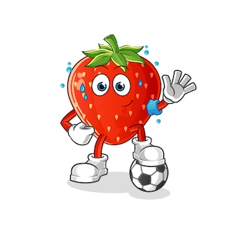 Morango jogando ilustração de futebol