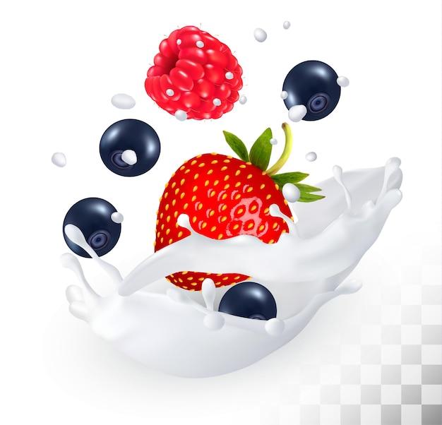 Morango, mirtilo e framboesa em um respingo de leite em um fundo transparente