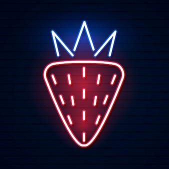 Morango neon vermelho. ilustração em vetor de morango vermelho neon composta por contornos, com luz de fundo no fundo escuro