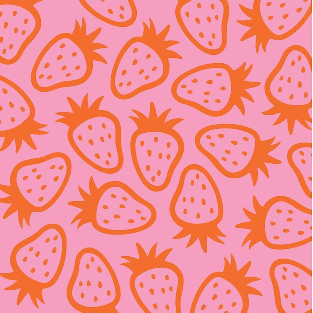 Morango padrão de fundo mídia social postar ilustração vetorial de frutas
