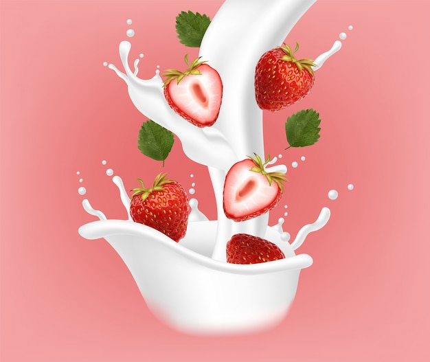 Morango realista com respingo de leite, iogurte de morango, frutas de verão