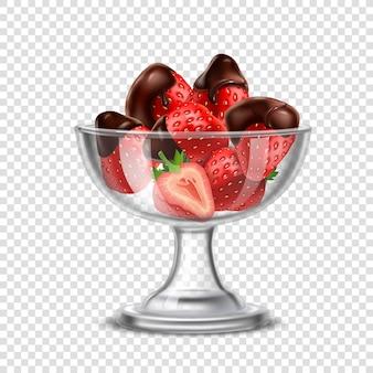 Morango realista na composição de chocolate