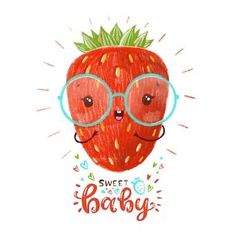 Morango vermelho bonito com óculos.